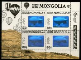 Mongolia 1993 Graf Zapplin Balloon HOLOGRAM Stamp Sc 2139 Sheetlet MNH # 9662 - Holograms