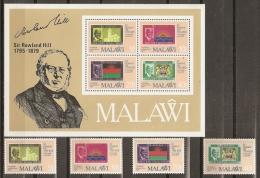 CELEBRIDADES/ROWLAND HILL - MALAWI 1979 - Yvert #338/41+H56 - MNH ** - Rowland Hill