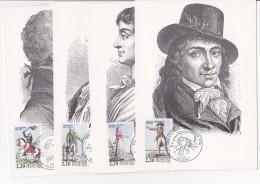Cartes Maximun Lot De 4cartes Année 1989 Les Grands Personnages De La Revolutions Française - Maximum Cards
