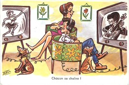 Humour Couple Chacun Sa Chaîne ! Télévision N° 1917 - Illustrateurs & Photographes
