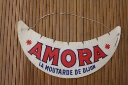 Visière Casquette Publicitaire Carton (avec Petit élastique)Vintage AMORA La Moutarde De Dijon Publicité Réclame - Caps