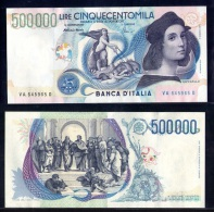 ITALIA ITALY RAFFAELLO RAPHAEL 500.000 LIRE FDS FS UNC NEUF INCISORE ARTIST CIONINI LAST LIRA BANKNOTE - [ 2] 1946-… : République
