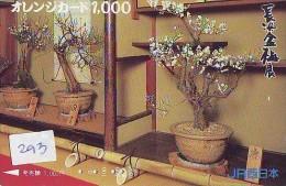 Carte Prépayée  Japon  * Arbre Nain * BONSAI (293)  Dwarf Tree Japan Prepaid Card * Karte Baum * - Fiori