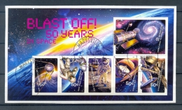 AUSTRALIA * S/S 6v YEAR 2007 * 50 YEARS IN SPACE * VERY FINE USED ON COVER PIECE - 2000-09 Elizabeth II