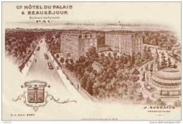 64, Pau, Grand Hôtel Du Palais Et Beauséjour, J. Bonnafon, Propriétaire-Belle Illustration - Pau