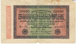 Germany #85 20,000 Marks 1923 Banknote Currency - [ 3] 1918-1933 : República De Weimar