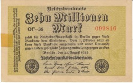 Germany #106a 10 Millionen Marks 1923 Banknote Currency - [ 3] 1918-1933 : Weimar Republic