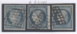 Cérès N° 4/4a (Variété, 1 Timbre Avec 2 Lunes 1 Devant Le Nez 1 Devant R De REPUB) Avec Oblitération Grille De 1849  TTB - 1849-1850 Ceres