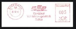 DDR / East-Germany: Stempel 'FER - Fahrzeugelektrik, 1982' / Cancel 'Vehicle Electrics', [99817] 59 Eisenach - Trucks
