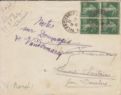Valenciennes 1926, Bloc De 4 Timbres - Poststempel (Briefe)