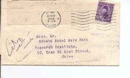 Egypte ( Lettre De Banque De 1949 Avec Timbre Fiscal à Voir) - Egypt