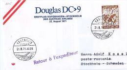 BRIEFMARKEN Umschlag Ersten Tag Flugzeuge DOUGLAS DC-9 ERSTFLUG KOPENHAGEN-STOCKHOLM RETOUR 1971 - Airplanes