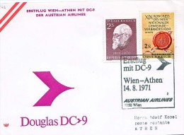 BRIEFMARKEN Umschlag Ersten Tag Flugzeuge ERSTEFLUG WIEN-ATHEN   DOUGLAS DC-9 AUSTRIAN AIRLINES 14.08.1971. - Airplanes