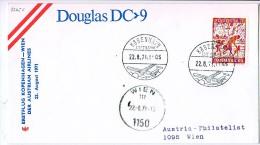 BRIEFMARKEN Umschlag Ersten Tag Flugzeuge ERSTEFLUG KOPENHAGEN -WIEN  DOUGLAS DC-9 AUSTRIAN AIRLINES 22.08.1971. - Airplanes