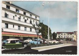 CPSM COLORISEE CHATEAUROUX HOTEL BRASSERIE RESTAURANT LE FAISAN, HOTEL DE LA GARE, AUTOS VOITURES ANCIENNES, DS INDRE 36 - Chateauroux