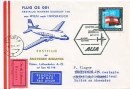 BRIEFMARKEN Umschlag Ersten Tag Flugzeuge FLUG OS 001 ERSTEFLUG HAWKER SIDDELEY 748 AUSTRIAN AIRLINES 08.08.1966. - Airplanes