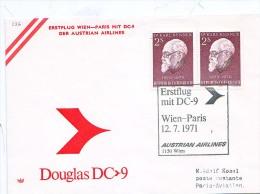 BRIEFMARKEN Umschlag Ersten Tag Flugzeuge ERSTEFLUG  WIEN-PARIS DOUGLAS DC-9 AUSTRIAN AIRLINES 12.07.1971. - Airplanes