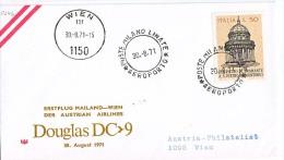 BRIEFMARKEN Umschlag Ersten Tag Flugzeuge ERSTEFLUG MAILAND-WIEN  DOUGLAS DC-9 AUSTRIAN AIRLINES 30.08.1971. - Airplanes