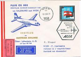 BRIEFMARKEN Umschlag Ersten Tag Flugzeuge FLUG OS 001 ERSTEFLUG HAWKER SIDDELEY 748 INNS-SA.AUSTRIAN AIRLINES 6.05.1966 - Airplanes