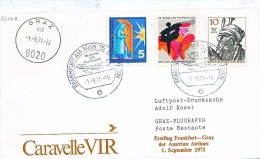 BRIEFMARKEN Umschlag Ersten Tag FlugzeugeCARAVELLE VIR  ERSTFLUG FRANKFURT-GRAZ 01.09.1971. - Airplanes