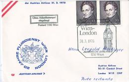 BRIEFMARKEN Umschlag Ersten Tag Flugzeuge 20 JAHRE  FLUGDIENST WIEN-LONDON AUSTRIAN AIRLINES 31.03.1978. - Airplanes