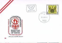 BRIEFMARKEN Umschlag Ersten Tag Flugzeuge 13.WELTKONGRESS 1985.28.06.19785. WIEN - Airplanes