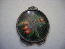 Specchietto Con Xilografia Ramo Con Frutta. Anni ´30 - Profumi & Bellezza