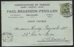 Obl. Fortune BELGIQUE *3* BELGIE S/carte Postale De Marcinelle 15/5/19 + Tabacs Cigares  Cigarettes Paul Brasseur (378) - Tabac
