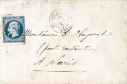 TIMBRE NAPOLEON SUR LETTRE 1855 VILLENEUVE-SUR-LOT A PARIS - 1853-1860 Napoléon III