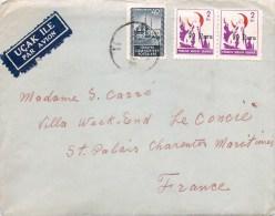 LETTRE DE TURQUIE UCAK ILE PAR AVION TIMBRE SURCHARGE TURKEY - 1934-39 Sandjak Alexandrette & Hatay