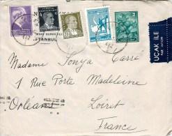 LETTRE DE TURQUIE ISTANBUL UCAK ILE PAR AVION TURKEY + TIMBRE - 1934-39 Sandjak Alexandrette & Hatay