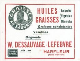 HARFLEUR LETTRE + BUVARD HUILES ET GRAISSES INDUSTRIELLES W. DESSAUVAGE-LEFEBVRE ROUTE DE ROUELLES PUBLICITE 76 - Carte Assorbenti