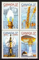 1987 Canada - Inventions Block Of 4v, Canada Day, Kerosene Wheat Electron Microscope , Michel 1086/89 MNH - Physics