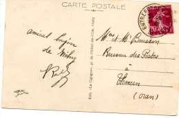 VICHY - LA POSTE ET LA GARE D'AUTOBUS  - CACHET  ENTREPOT DE VICHY 1937 - Marcophilie (Lettres)