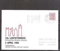 Belgique: lettre oblit�ration 04/04/1982 7i�me tournoi du Printemps Hoboken.