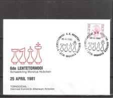 Belgique: lettre oblit�ration 25/04/1981 6i�me tournoi du Printemps Hoboken.