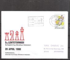 Belgique: lettre oblit�ration 20/04/1980  5i�me tournoi du Printemps Hoboken.