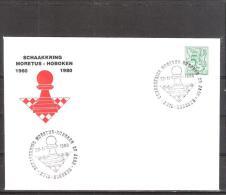 Belgique: lettre oblit�ration 22/11/1980  20i�me an.du cercle d'�checs Moretus Hoboken.