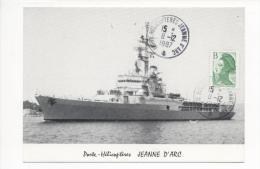"""Porte Hélicoptères JEANNE D´ARC  Campagne 87/88 -   Marianne """"TARIF B"""" Oblitérée CAD 8/12/1987 Sur Carte Postale - Postmark Collection (Covers)"""