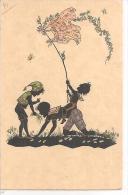80675)cartolina -siluette Di Bambini Che Giocano E Farfalle-nuova - Siluette