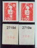 Marianne Bicentenaire Roulette N° Rouge 2719a + 2719d Gomme Jaunâtre- Gomme Blanche - Errors & Oddities