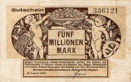 Notgeld Reichsverkehrsministerium  5 Millionen  Mark  Bayern - [ 3] 1918-1933 : Repubblica  Di Weimar