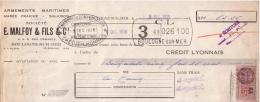 PAS DE CALAIS - BOULOGNE SUR MER - ARMEMENTS MARITIMES - MAREE FRAICHE - SALAISON - E. MALFOY & FILS & CIE - 1938 - Lettres De Change