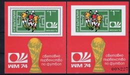Bulgaria: Mi Block 47 A + B, MNH, 1974 Football - Blokken & Velletjes