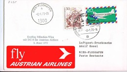 BRIEFMARKEN ERSTTAG Flugzeuge, AUSTRIAN AIRLINES,DC-9,ERSTFLUG MÜNCHEN-WIEN  2.01.1972. - Flugzeuge