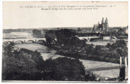 CP, 37, TOURS, La Loire, Le Pont Bonaparte Et La Vue Générale Nord Ouest, Vierge, Ed : A.Papeghin - Tours