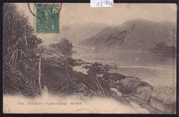 Tonkin - Tuyen-Quang - Rivière Et Village De Huttes - Timbre Indochine Française Ca 1906 (12´746) - Viêt-Nam