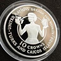 Turks Caicos Isl. 10 Cr 1985 Women Decade Silver Minted 1001 Pieces Only - Turks En Caicoseilanden