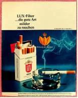 Reklame Werbeanzeige  , LUX Cigaretten  ,  Die Gute Art Milder Zu Rauchen  -  Von 1965 - Raucherutensilien (ausser Tabak)