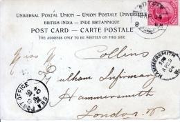 India   POSTAL HISTORY CARD  TO LONDON  SEA POST TAJ MAHAL - India (...-1947)